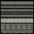 Vector set of lace trims on black background Royalty Free Stock Photo