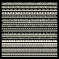 Vector set of lace trims isolated on black background Royalty Free Stock Photos