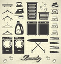 Vector set laundry room labels and icons collection of silhouettes for house Royalty Free Stock Photography