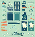 Vector set laundry room labels and icons collection of silhouettes for house Royalty Free Stock Image