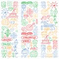 Vector set of learning English language, children`s drawingicons icons in doodle style. Painted, colorful, pictures on a