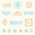 Vector set of linear design elements and logos for beauty shops cosmetic industry mono line lettering Stock Photo