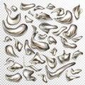 Vector set of liquid metal abstract drops