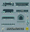 Vector set locomotive trains and signs collection of retro style train train related items Royalty Free Stock Images