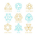Vector set of logo design templates and symbols in trendy linear style Royalty Free Stock Photo