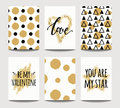 Vector set of love cards for wedding and Valentine`s day with golden sparkling effects