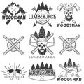 Vector set lumberjack logos, emblems, banners, labels or badges. Monochrome isolated illustration with woodsman, skull