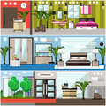 Vector set of luxury hotel interior flat posters, banners