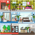 Vector set of luxury hotel posters, banners in flat style