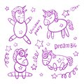 Vector set of magical cute unicorns. Fabulous goods are hand-drawn in cartoon style.