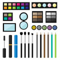 Vector set of make up cosmetics brushes and eyeshadows