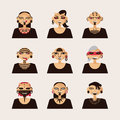 Vector set with male characters, drawn with body modifications, piercing and tattoo. Portraits in various hairstyle and styles of Royalty Free Stock Photo