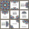Vector set with mandala. Background abstract circle ornament. Decorative retro element. Invitation card on wedding, birthday. Royalty Free Stock Photo