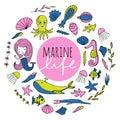 Vector set of marine life. Royalty Free Stock Photo