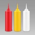 Vector Set of Mayonnaise Ketchup Bottle