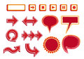 Vector set of media player buttons arrows and bubbles red color hand drawn speech in Stock Photo