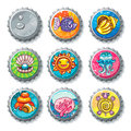 Vector set of metallic bottle caps. Summer vacation Royalty Free Stock Photo