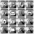Vector set of metallic square buttons with office web site application theme Royalty Free Stock Images