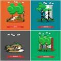 Vector set of military square posters in flat style Royalty Free Stock Photo