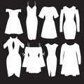 Vector set of modern dresses for women.