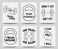 Vector set of modern fitness templates with hands, dumbbells, weight and motivational phrases