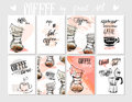 Vector set of modern posters with coffee backgrounds. Trendy hipster templates for flyers, banners, invitations Royalty Free Stock Photo