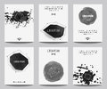 Vector set of modern posters with geometrical shapes and splashes