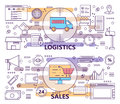 Vector set of modern thin line Logistics and Sales banners Royalty Free Stock Photo