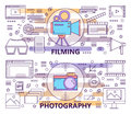 Vector set of modern thin line Photography and Filming banners