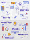 Vector set of modern thin line sales concept banners Royalty Free Stock Photo