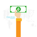 Vector set money Dollar map world icon hand and arm Royalty Free Stock Photo