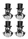 Vector set of monochromatic gentlemen with accessories
