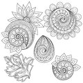 Vector Set of Monochrome Contour Floral Doodles Royalty Free Stock Photo