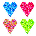 Vector set of mosaic hearts colourful Stock Photos