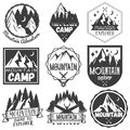 Vector set of mountain camp labels in vintage style.