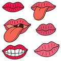 Vector set of mouth and tongue