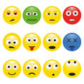 Vector set multicolored smileys with emotions