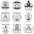 Vector set of museum isolated labels, logo and emblems.