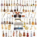 Vector set of musical instruments in flat style