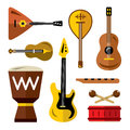 Vector Set of musical instruments. Flat style colorful Cartoon illustration.