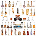 Vector set of musical instruments on white background