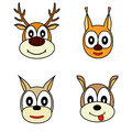 Vector set of muzzle the animals illustration Stock Images