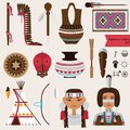 Vector set with native american indians houseware objects, music instruments and accessories. Pottery, rugs, tepee, false face mas Royalty Free Stock Photo