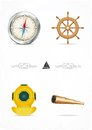 Vector set of nautical design elements Stock Photos