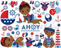 Vector Set with African American Baby Girls dressed in Nautical Style and Marine Elements Royalty Free Stock Photo