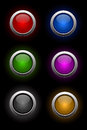 Vector set of neon glass buttons Royalty Free Stock Photo