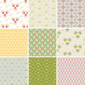 Vector set nine floral geometric colorful seamless pattern Royalty Free Stock Images