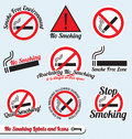 Vector Set: No Smoking Sign Labels and Icons Stock Photo