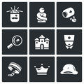 Vector Set of Nuthouse Icons. Diagnosis, Straitjacket, Treatment, Study, Building, Doctor, Bondage, Persistence, Split
