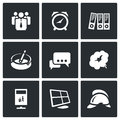 Vector set of office fire alarm icons people clock folders ashtray dialogue smoke recycling monitor helmet Stock Image